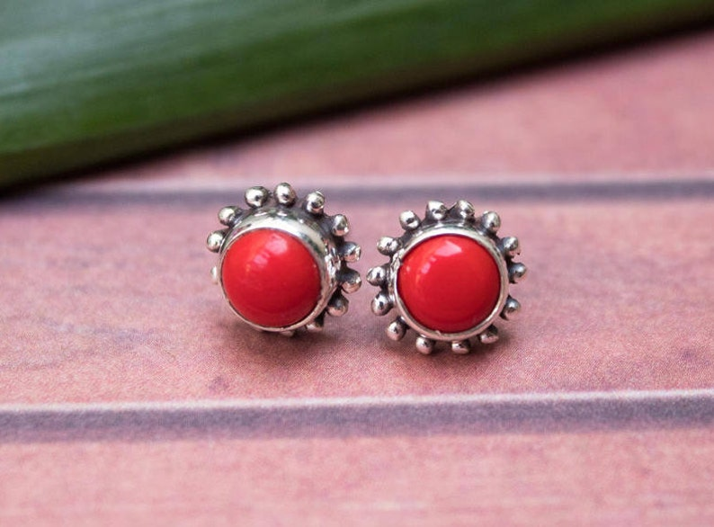 da4097fb1 Red Coral Stud Earrings Sterling Silver Studs Coral Studs | Etsy