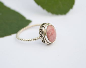 Rhodochrosite Ring, Sterling Silver Ring, Rhodochrosite Jewelry, Dainty Rings, Boho Ring, Promise Ring, Natural Pale Pink Stone Ring