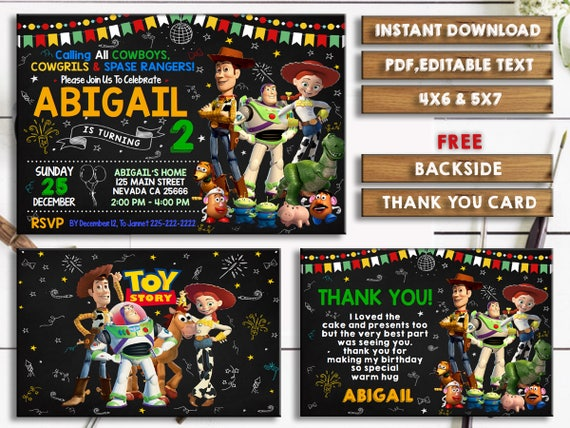 Toy Story Invitation Toy Story Printable Birthday Invitation Etsy
