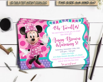 INSTANT DOWNLOAD_Minnie Mouse Birthday Invitation, Editable, invitation, invitations birthday, Invites, invitations download, PDF