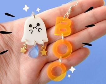 Cute halloween earrings- cute ghost jewelry- kawaii spooky ghost boo earrings- statement earrings-statement jewelry