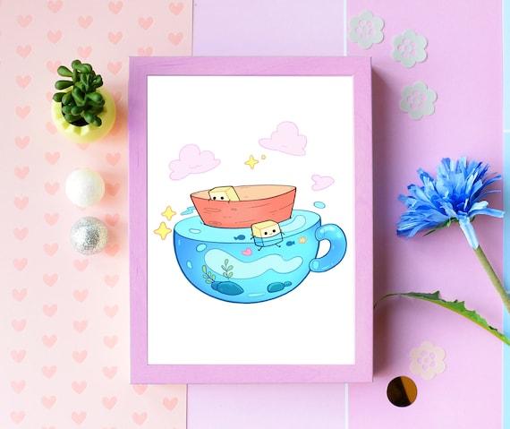 Cute Art Print Kawaii Adorable Art For Kids Wall Decor Gift Etsy