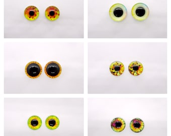 16mm 12mm 8mm 10mm 14mm Friendly Green Dragon Glass Eyes On Wire Pin Posts for Needle Felting Doll Making Taxidermy Supplies -Sizes 6mm