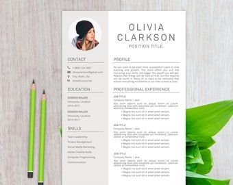 Modern Resume Template | CV Template + Cover Letter + Reference Letter | Instant Digital Download | MS Word | Olivia