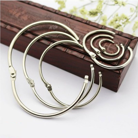 50 Pcs Staple Book Binder 20mm Outer Diameter Loose Leaf Ring Keychain@M