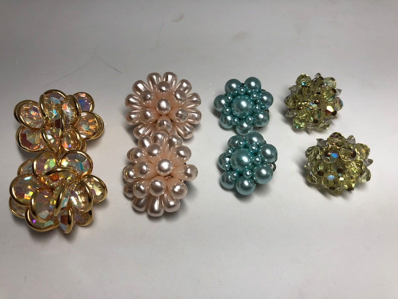 4 pairs clip on earrings Bezel crystal pink faux pearls faux baby blue pearls and bicone glass beads