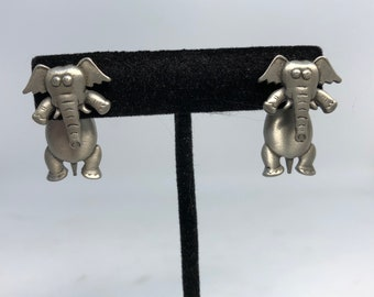 Pewter Elephant pieced earrings elephant earrings by J.J.