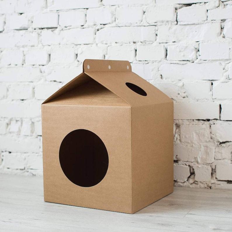 Cardboard House Box Pet House Cat House Modern Cardboard Box Etsy