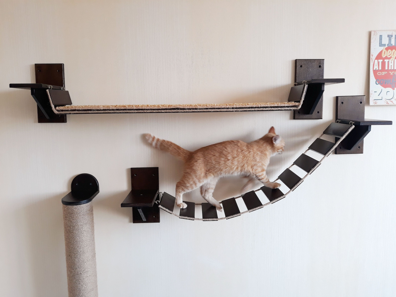 cat furniture wall mounted cat furniture cat shelves cat wall etsy. Black Bedroom Furniture Sets. Home Design Ideas