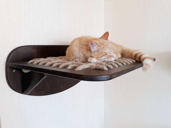 cat shelf wall mount cat hammock cat bed wood wall cat wall etsy. Black Bedroom Furniture Sets. Home Design Ideas