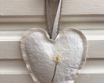 Daisy Vintage linen hand embroided heart filled with dried lavender