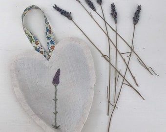 Vintage linen hand embroided heart filled with dried lavender