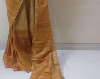A handloom Ghicha silk Saree in mustard