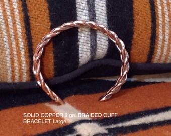 Braided copper cuff bracelet. 8 ga copper wire.
