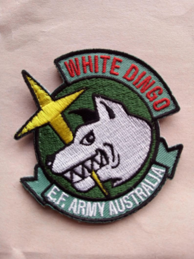 White Dingo Team Mobile Suit Unit Patch Embroidered, Velcro backing