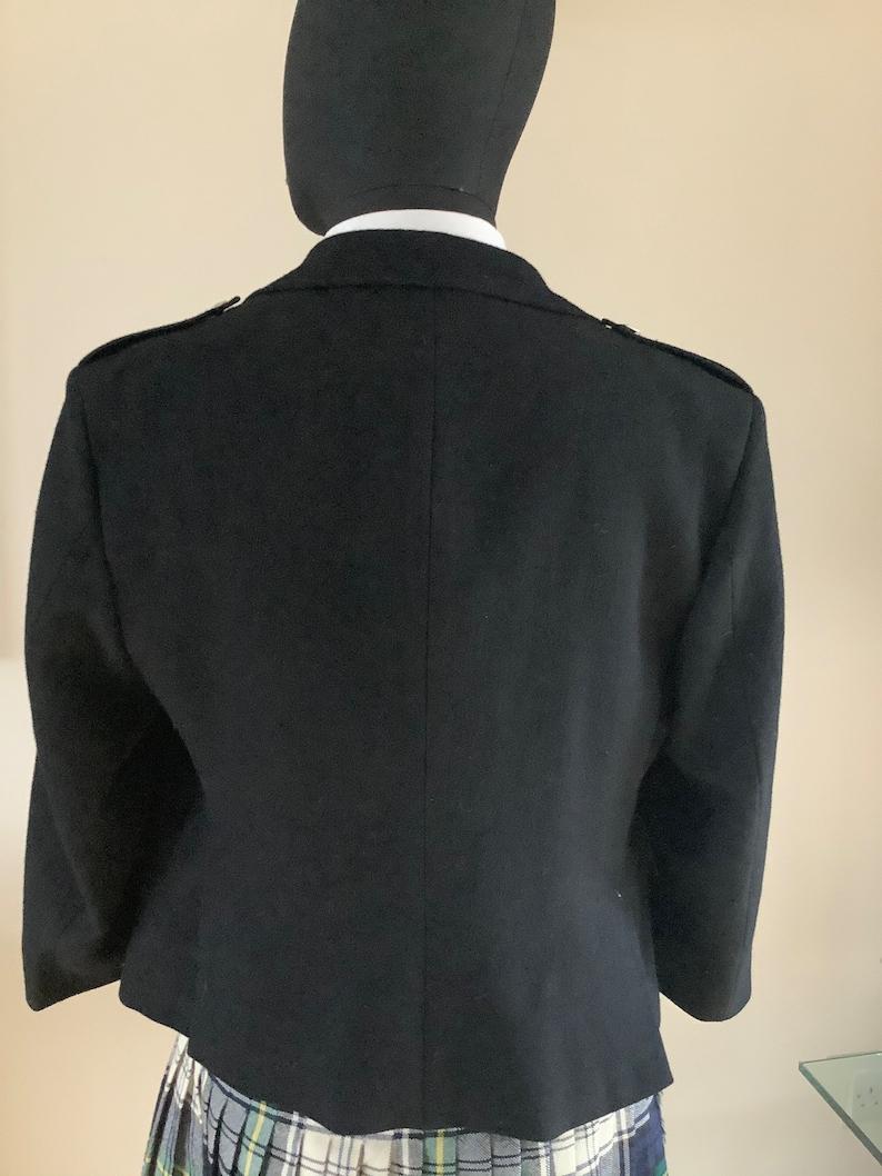 Argyll style,black wool,chest 40 inch. Vintage mans kilt jacket