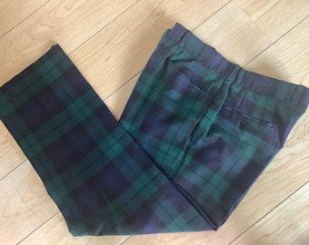 Vintage mens Scottish Black Watch Tartan trousers, waist 36 inches.