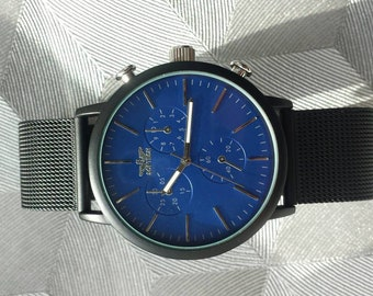 48919fca063 Black Mesh Strap Wrist Watch with Royal Blue Face and Matte Black Casing By  Softech London Gift For Him