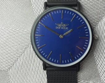 aa48a98727b Softech London Men s Watch Modern Black Matte Mesh Strap Blue Dial Matte  Casing