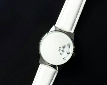 598ed4b257f Retro Jump Hour All White Unisex Watch Modern Take On Vintage Styling By  Softech London - Free UK Delivery