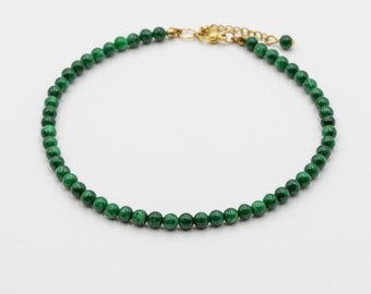bohoo jewelry Two-row anklet with olive green Taiwan jade and Japanese magatama beads