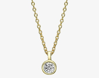 0.2 carat Solitaire necklace, 14k gold diamond bezel necklace, Dainty Diamond Necklace, Bridal Necklace, Mothers day gift