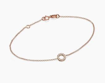 Rose Gold Diamond Bracelet, 14k Solid Gold Pave White Diamond Round Disc Bracelet, Dainty Friendship Bracelet, Tiny Diamond Bracelet