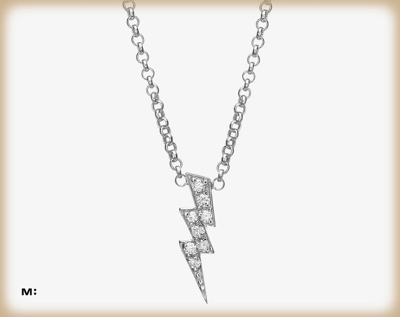 044b672bb6e28 Thunder Diamond Necklace in 14k White Gold, Gold Lightning bolt necklace,  Gift for her, Delicate gold necklace, Graduation Gift
