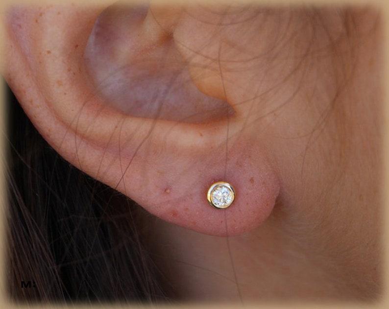 93660f21b 0.2 Ct Diamond Studs 14K Yellow Gold Post Earrings Delicate | Etsy