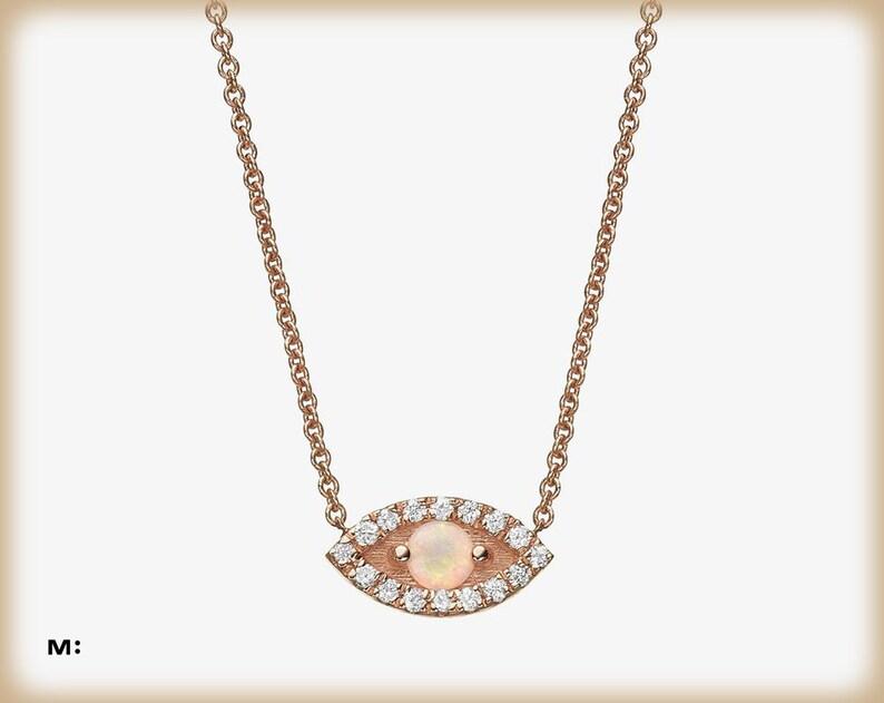 Lunette Set Rose Opale Solitaire Collier Pendentif ~ GRATUIT Chaîne ~ Boîte Cadeau Inclus