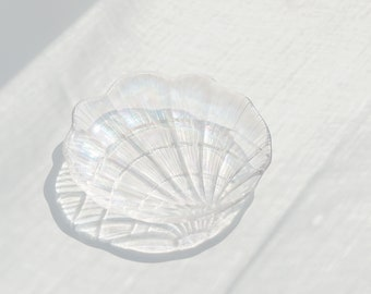 Holographic Shell Tray - Christmas Holiday Gift, Transparent Seashell Dish, Cute Candle Holder, Home Decor, Aesthetic Dreamy Jewelry Holder