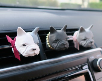 French Bulldog Car Air Freshener, Car Accessories, Vent Clip Scent Diffuser, Cute Portrait Paint, Gift For Frenchie Dog Lovers, Pet Dog Mom