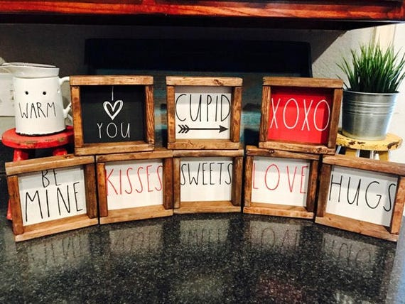 Valentine S Day Signs Rae Dunn Inspired Valentine Signs Etsy