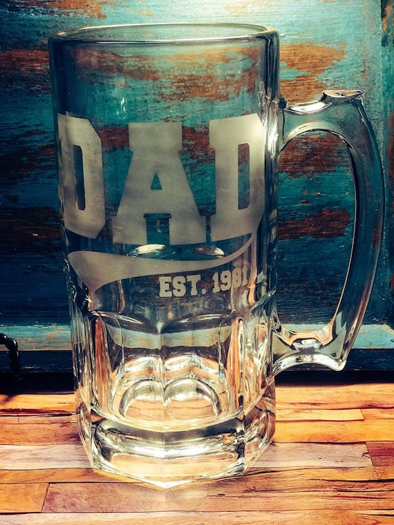 Dad Etched Glass Beer Mugs 26 33 Ounce Fathers