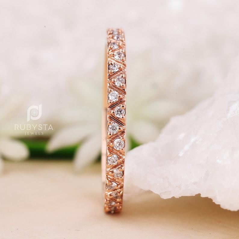 Minimalist Diamond Ring matching Wedding Matching Band Diamond Wedding Ring Stacking Dainty Diamond Ring 14k Solid Gold Diamond Ring