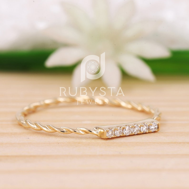 Lovely Gift for Her Dainty 6 Diamonds Ring in 14k Solid Gold Thin Diamond Ring Delicate Stackable Ring