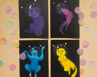 Postcards Animals in space - limited EDITION