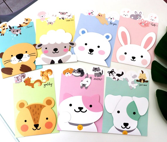 Set Of 7 Cards Cute Animal Card Greeting