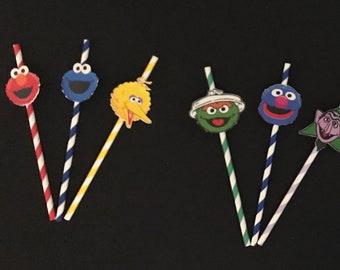 Sesame Street character Straws 12 - Sesame Street inspired -Sesame Street Party, Sesame Street Party Supplies, Sesame Street theme
