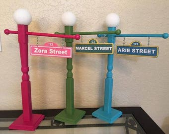 Sesame Street Sign with Lamp Post, 21 1/2 inch, Sesame Street Party, Sesame Street Centerpiece, Sesame Street Party Props