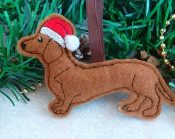 christmas dachshund christmas tree decoration machine embroidery file