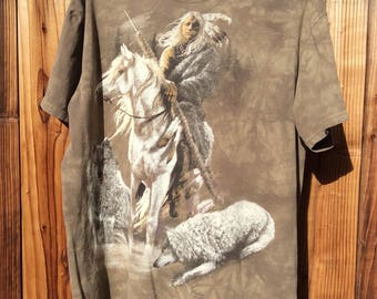 Cheif on horseback with wolf t-shirt size Large
