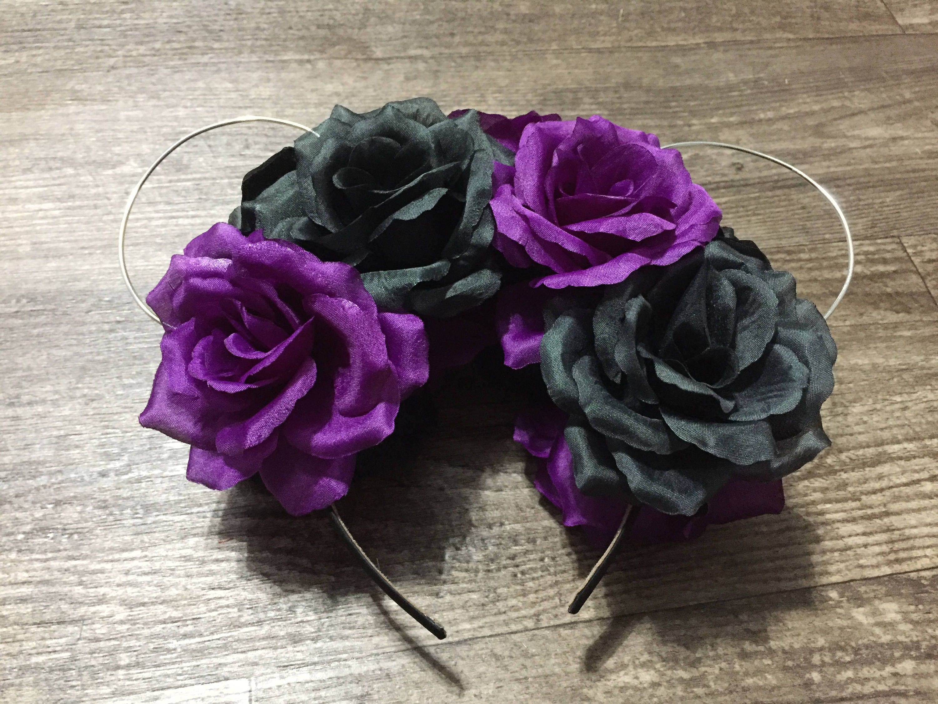 RTS Purple and Black Flower Crown Ears  3aff863a470