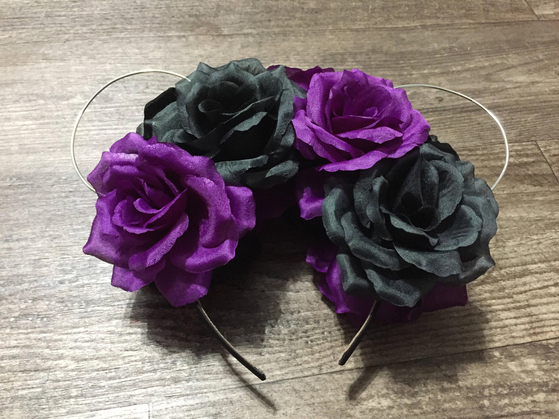 Purple and black flower crown ears etsy zoom izmirmasajfo