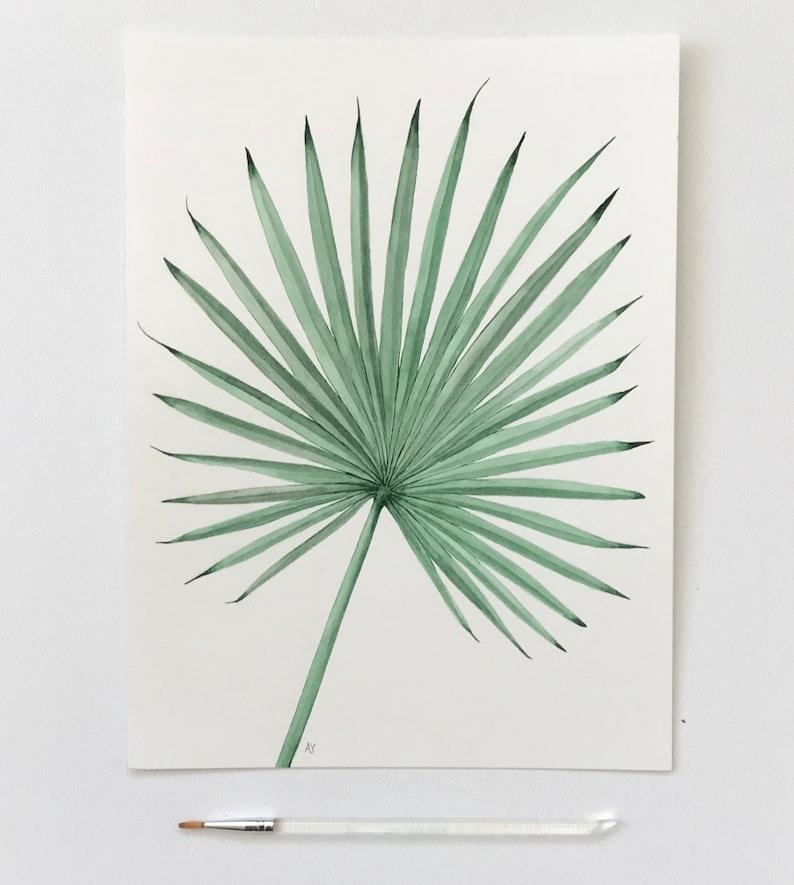 Printable Fan Palm Watercolor Art