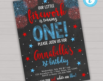 4th Of July Birthday Invitation Instant Download Editable Firework Firecracker