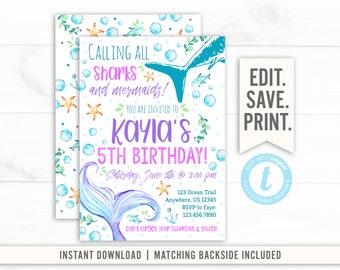 Shark Birthday Invitation Mermaid Editable Instant Download Girl Invite Under The Sea Swim