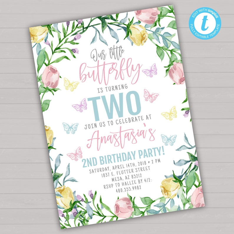 Butterfly Birthday Invitation Invite