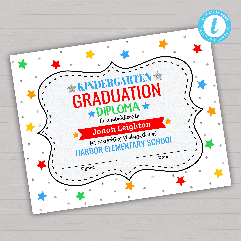 kindergarten graduation diploma graduation diploma etsy