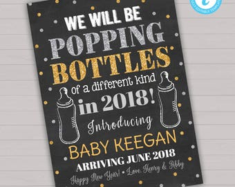 New Years Pregnancy Announcement, Editable Pregnancy Announcement, Instant Download Pregnancy Announcement, New Years Baby, Happy New Year